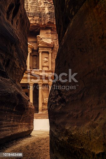 The magnificent facade of  the Treasury of El Khasneh al Faroun located on in Petra, Jordan