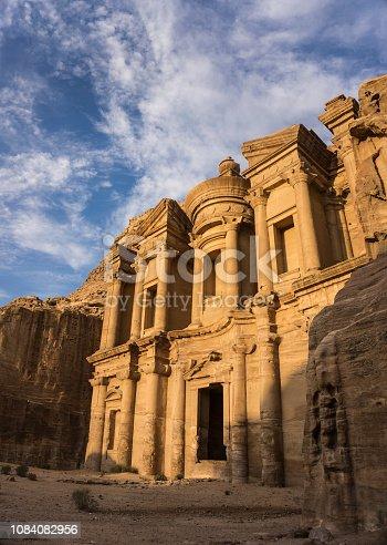 The magnificent facade of Monastery (al-Deir)in Petra, Jordan