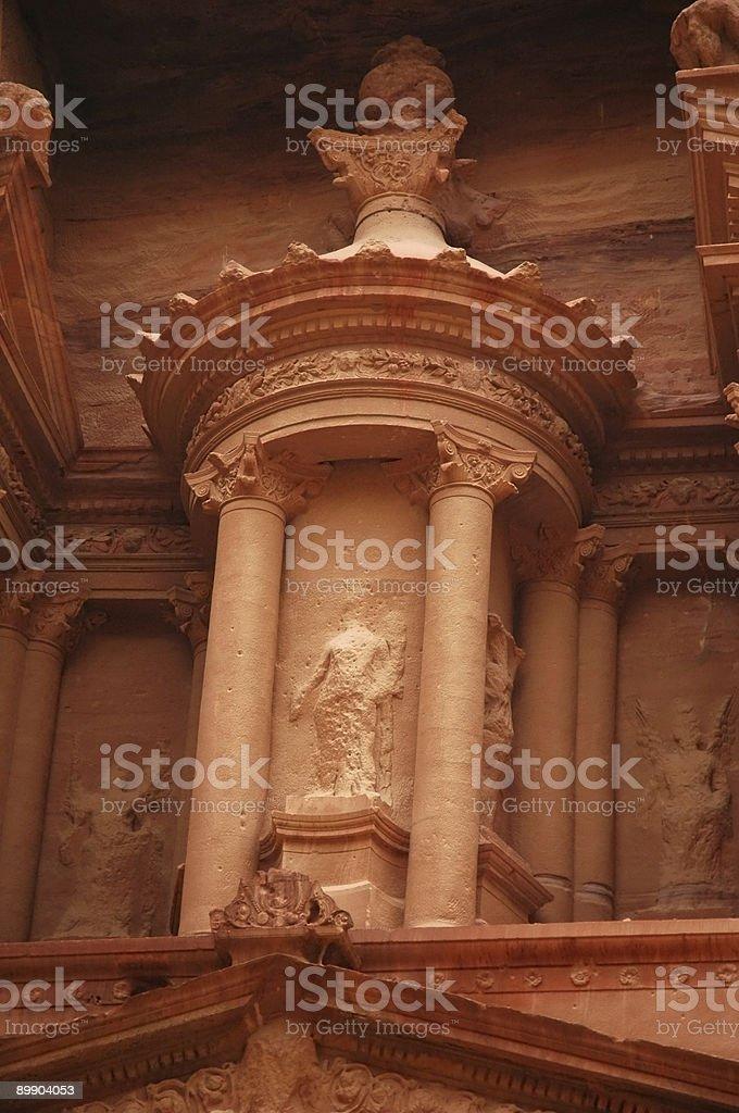 Petra Jordan tesorería Detalle 2 de la fachada foto de stock libre de derechos