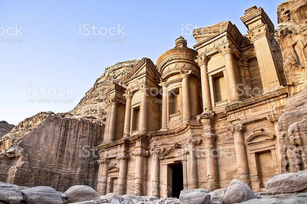 petra monastery stock photo