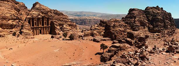 Petra monastery stock photo