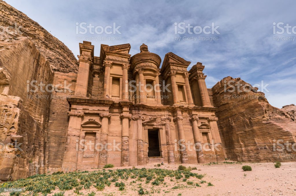Petra site Monastery under the sun stock photo