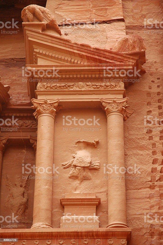 Petra Treasury carving detail royalty-free stock photo
