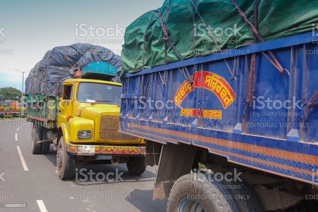 Goods carriage trucks at Indian side of international border between...