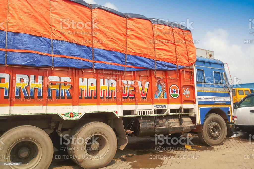 Fully loaded Goods carriage trucks at Indian side of international...
