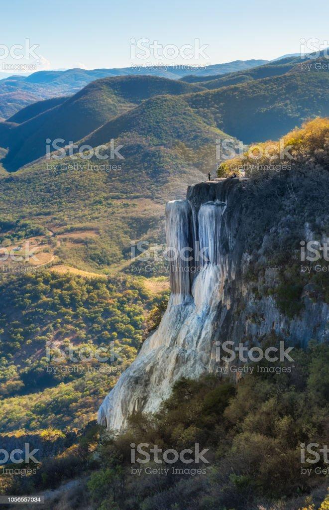 Petrified waterfalls, Hierve El Agua, Oaxaca, Mexico stock photo