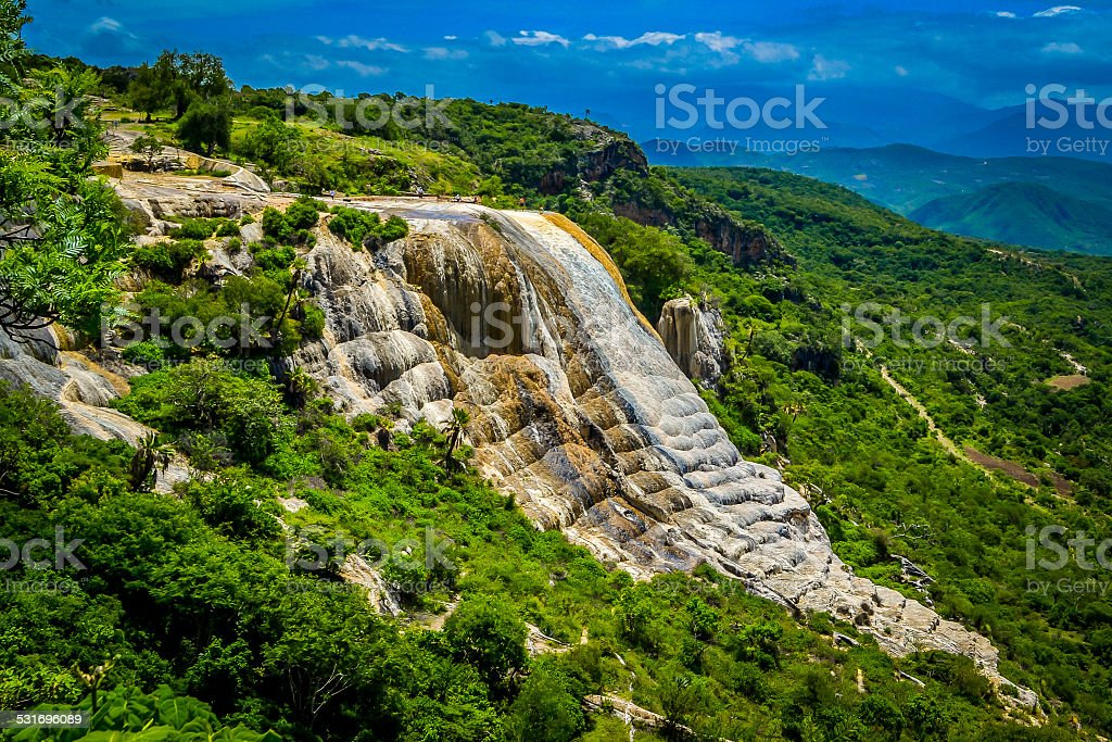 Petrified waterfalls Hierve el agua Petrified waterfall Hierve el agua in the state of Oaxaca, México. 2015 Stock Photo