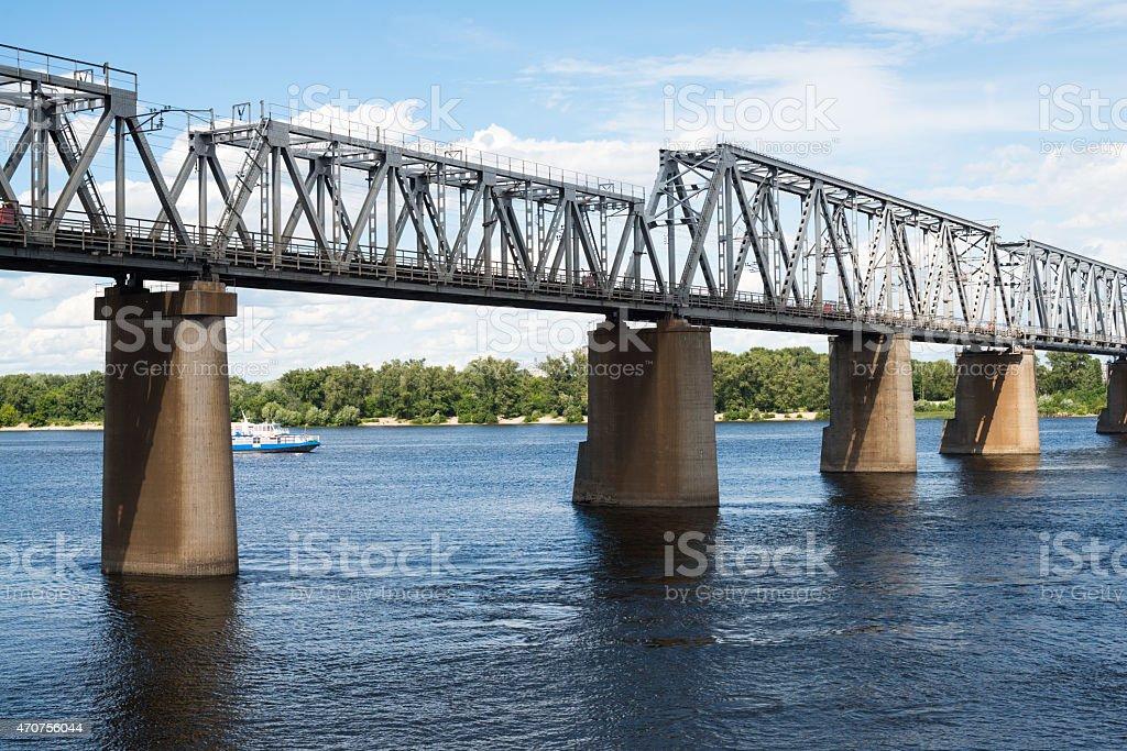 Petrivskiy railroad bridge in Kyiv (Ukraine) across the Dnieper stock photo