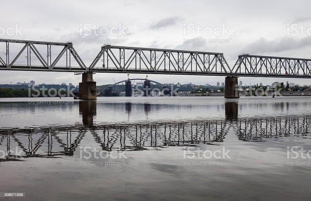 Petrivskiy railroad bridge in Kyiv (Ukraine) across the Dnieper river stock photo