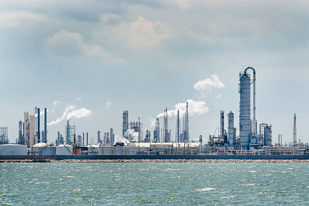 petro chemical oil processing refinery plant, Texas City industrial skyline stock photo