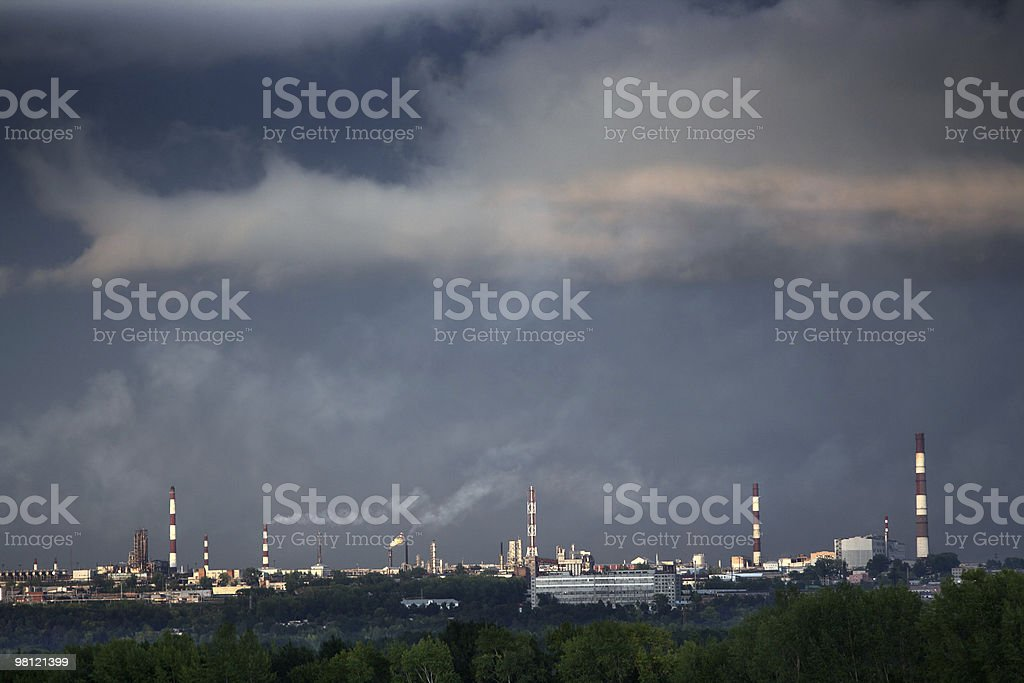 petrochemical factory chimneys royalty-free stock photo