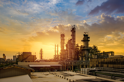Petrochemical industry with sunset, Factory of refinery plant
