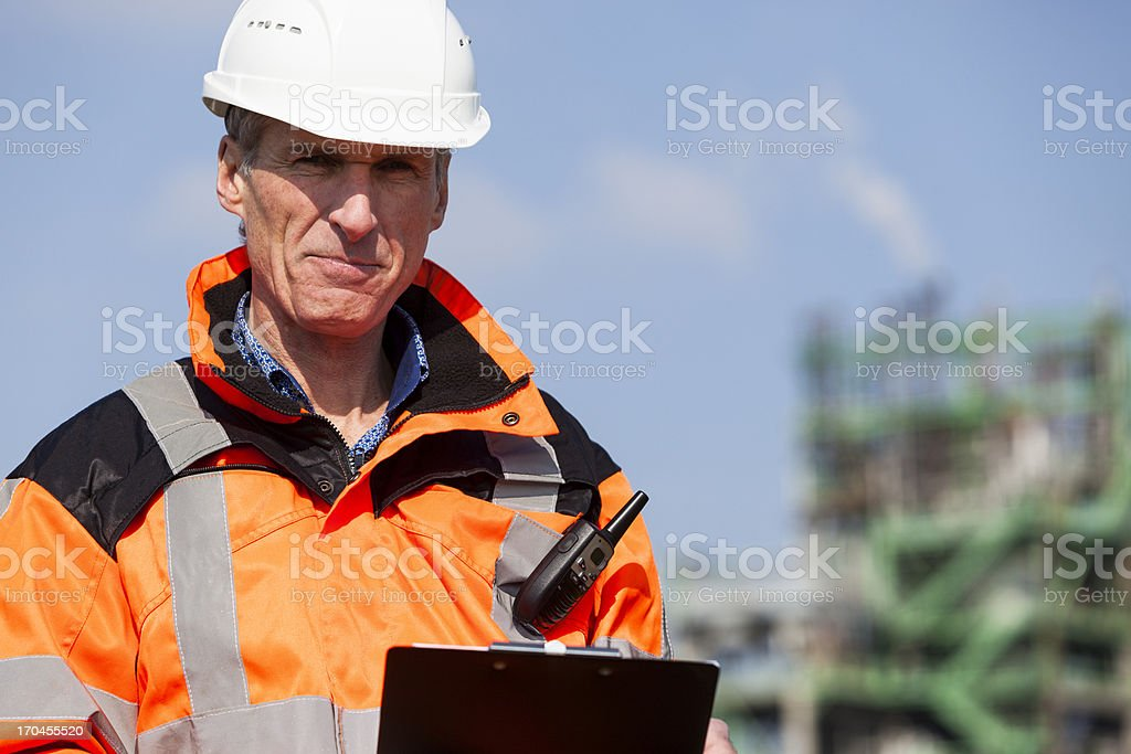 Petrochemical industry inspector - Royalty-free 27 MC-radio Stockfoto