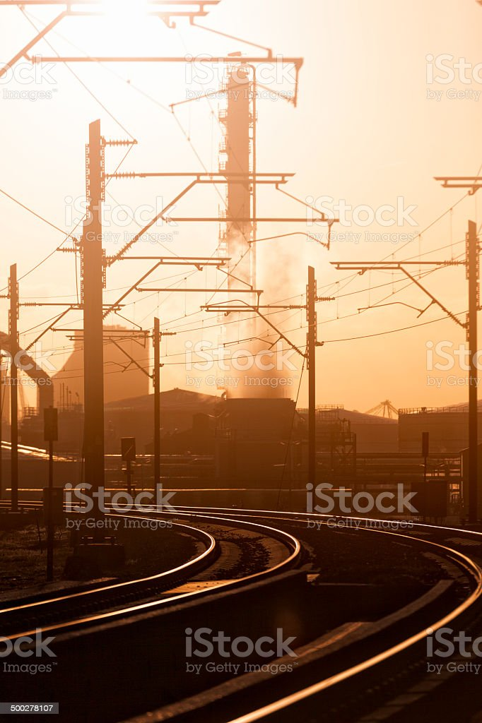 Petrochemical industry with railroad stock photo