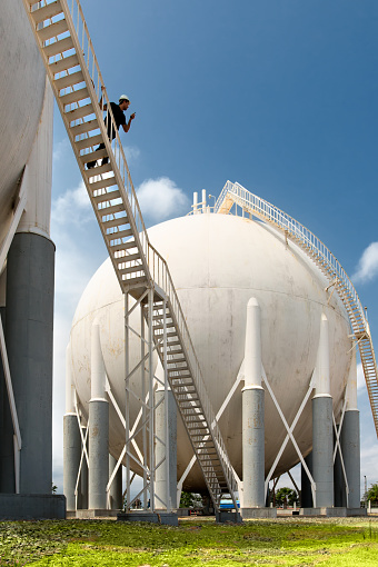 Petrochemical plant and a worker