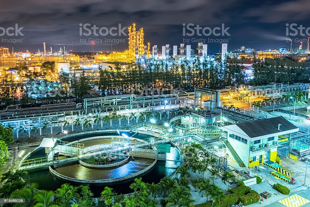 petrochemical plant and waste water plant stock photo
