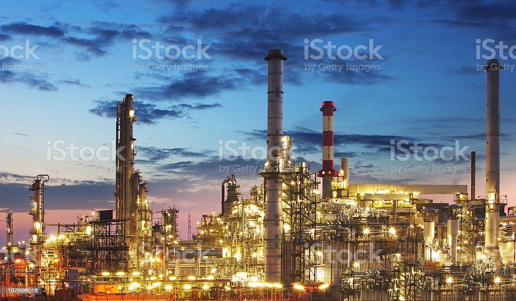 Petrochemical plant at night - Oil storege tank in Refinery stock photo