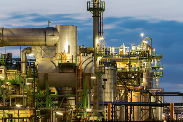 Petrochemical Plant at Night stock photo