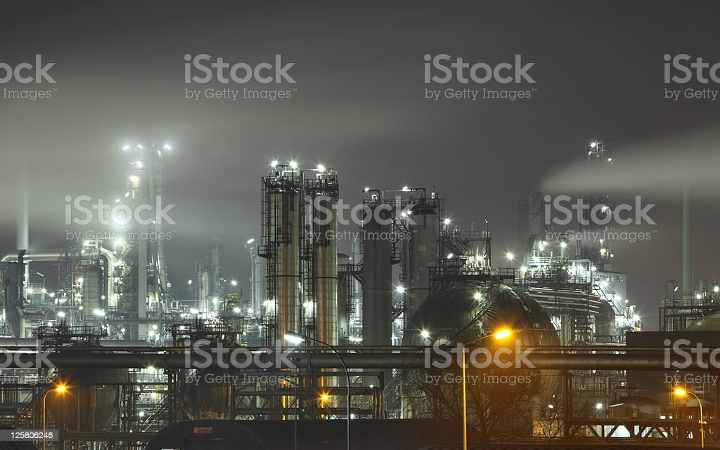 Petrochemical Plant At Night - Royalty-free Built Structure Stock Photo