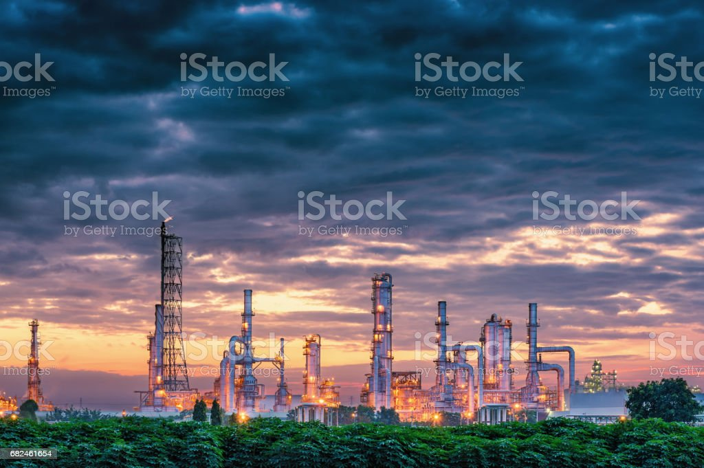 Petrochemical plant on twilight scene., Oil refinery plant. royalty-free stock photo