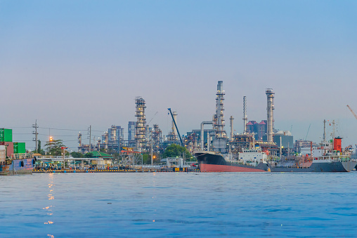 petrochemical plant  tower and oil refinery industry at daytime