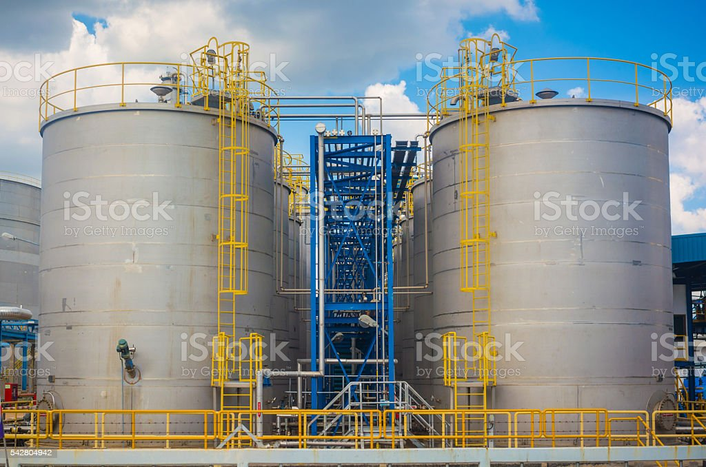 petrochemical plant  tower and oil refinery industry at daytime stock photo