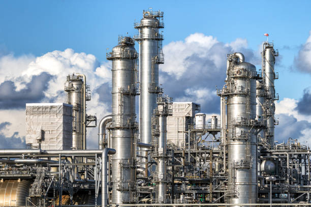 Petrochemical plant tubes stock photo