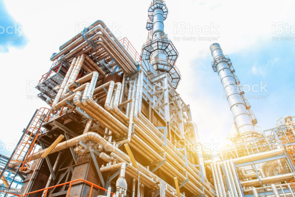Petrochemical Refinery oil and gas industry royalty-free stock photo