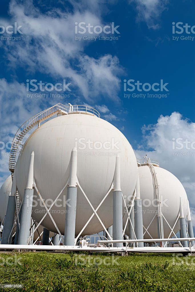 Petrochemical Storage Tanks in Refinery stock photo