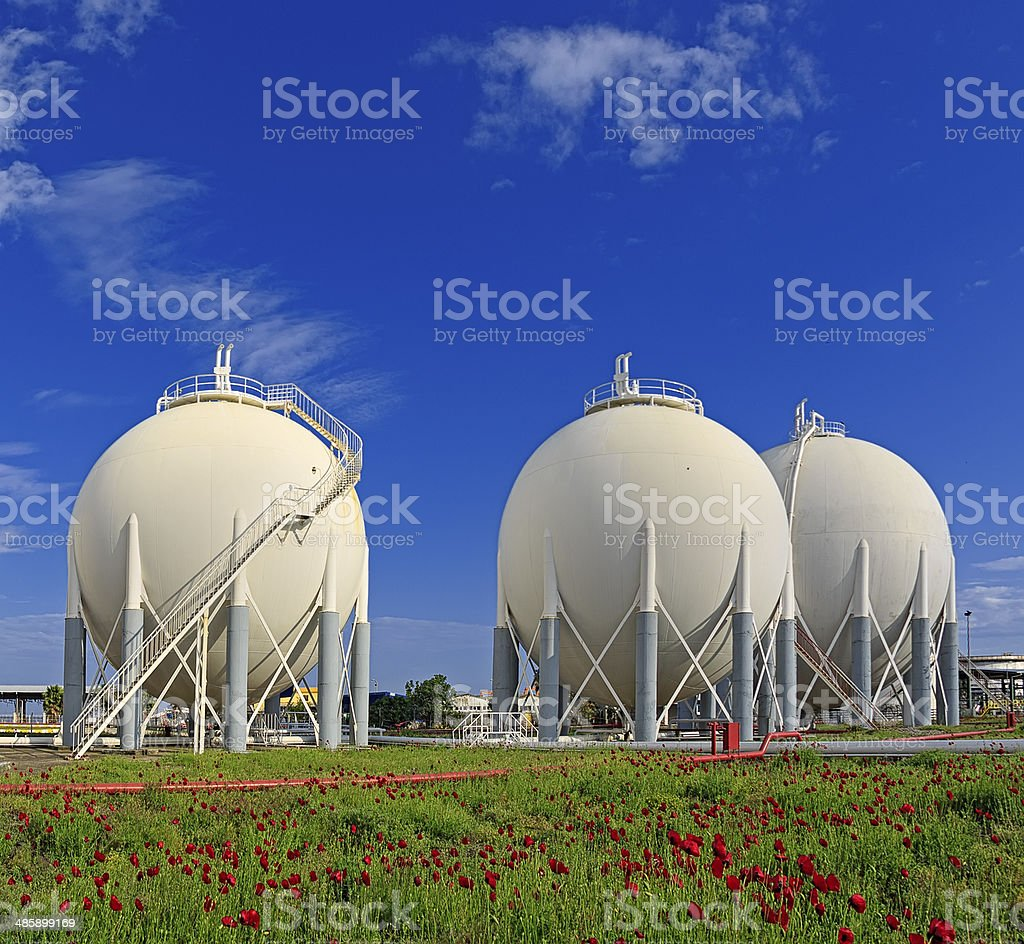 Petrochemical storage tanks stock photo