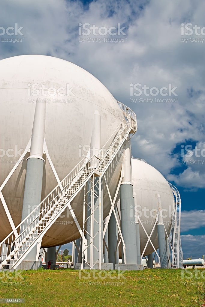 Petrochemical tanks in refinery stock photo