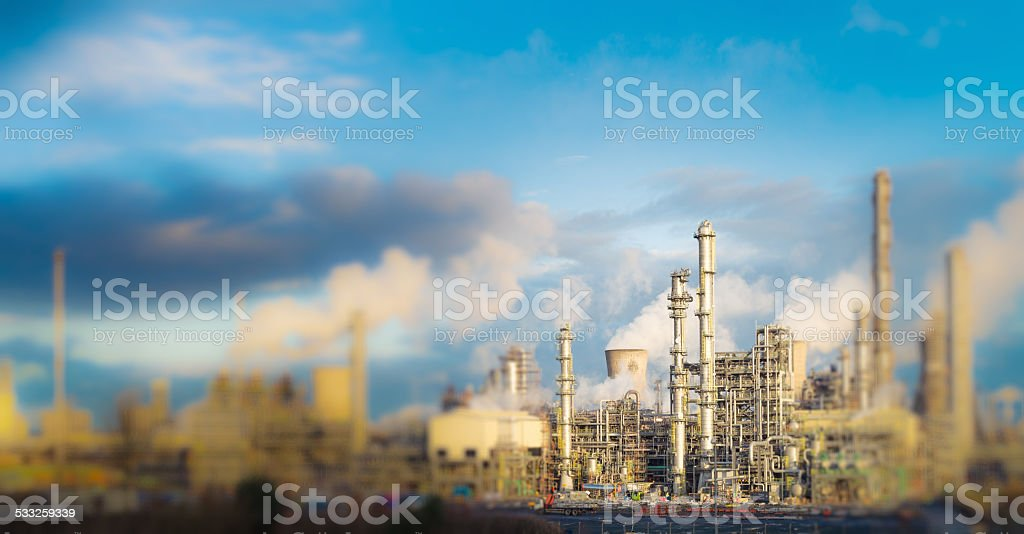 Petrochemical tilt-shift panorama stock photo