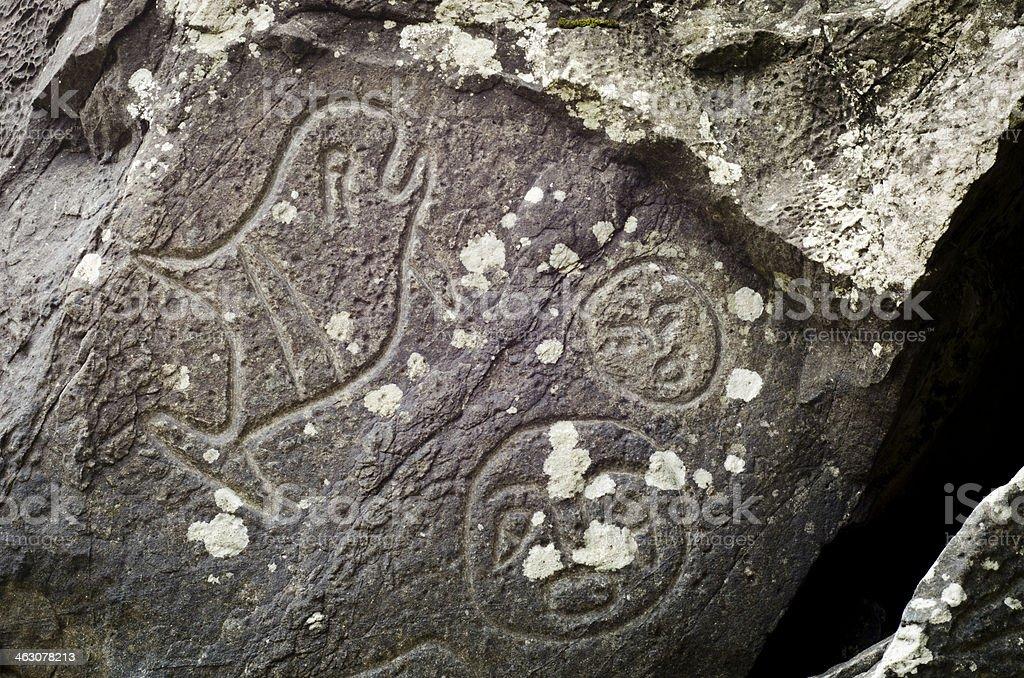 Petroglyph at Cape Alava stock photo