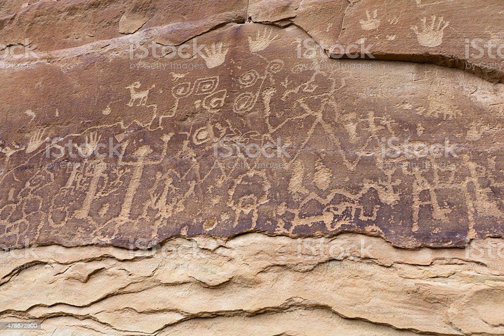Petroglyph in Mesa Verde National Park of Colorado, USA. stock photo