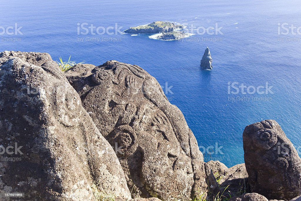 Petroglyph of birdman on Easter Island Chile stock photo