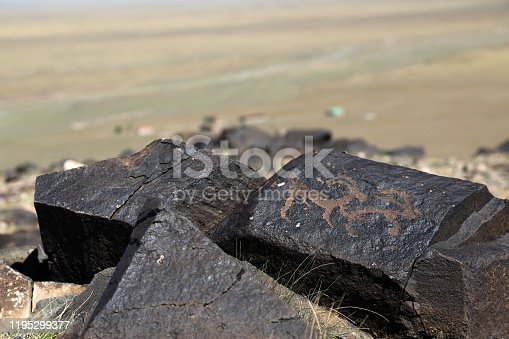 Petroglyph of Havtsgait Rock in Mongolia Havtsgait Valley is a site of ancient rock drawings left by early Gobi settlers for more than 15,000 years ago.