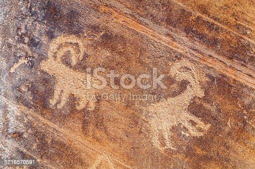 Petroglyph or rock art carvings of Native Americans on a canyon wall inWall Street Cliff on Colorado River near Moab,Utah,USA,Nikon D3x