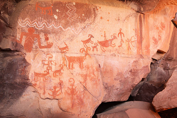 Petroglyph Pictograph Anasazi Pre-Columbian Art stock photo