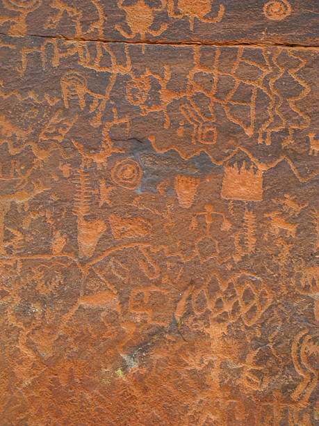 petroglyph solar calender ancient figures - hopi stock photos and pictures