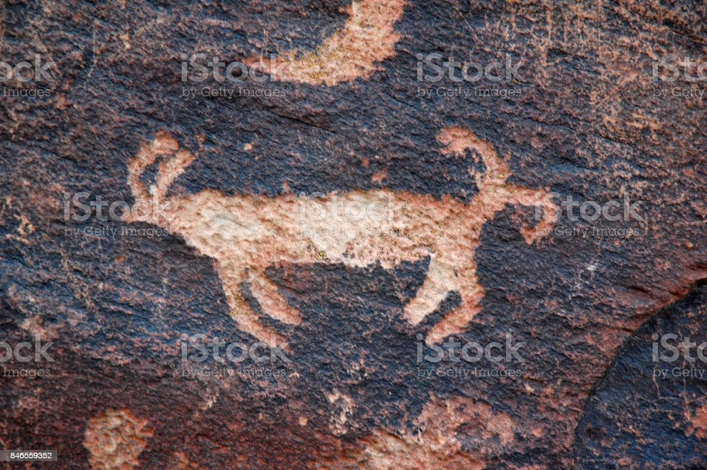 Petroglyphs Animal stock photo