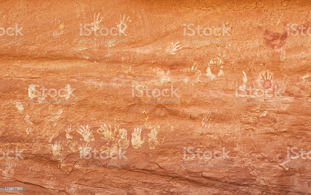 Petroglyphs at Many Hands Ruins in Monument Valley royalty-free stock photo