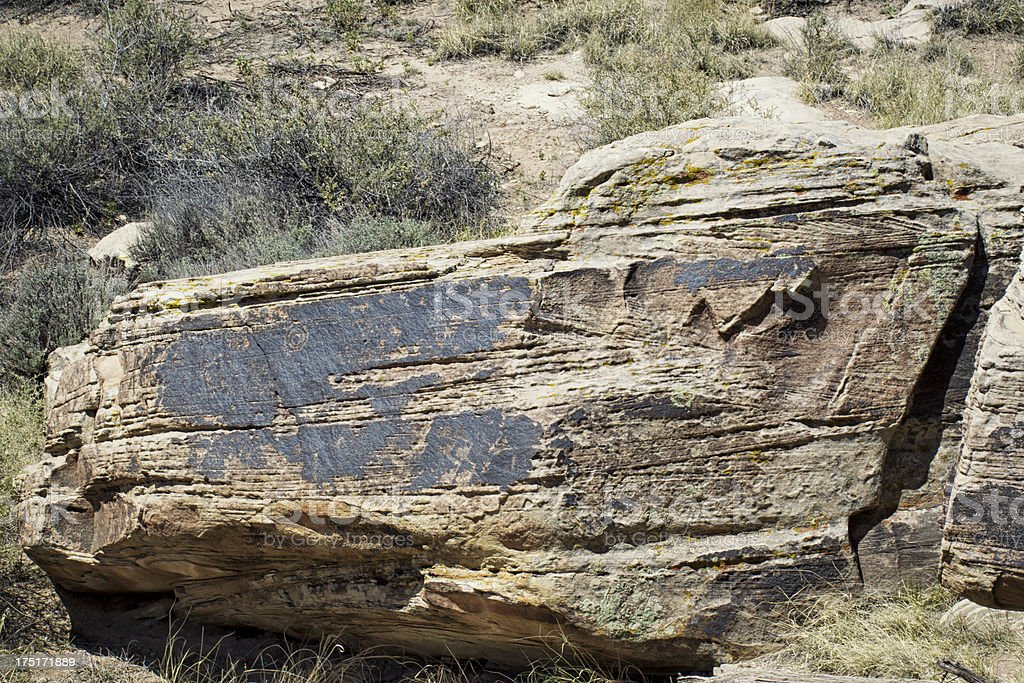 Petroglyphs at Petrified Forest National Park royalty-free stock photo