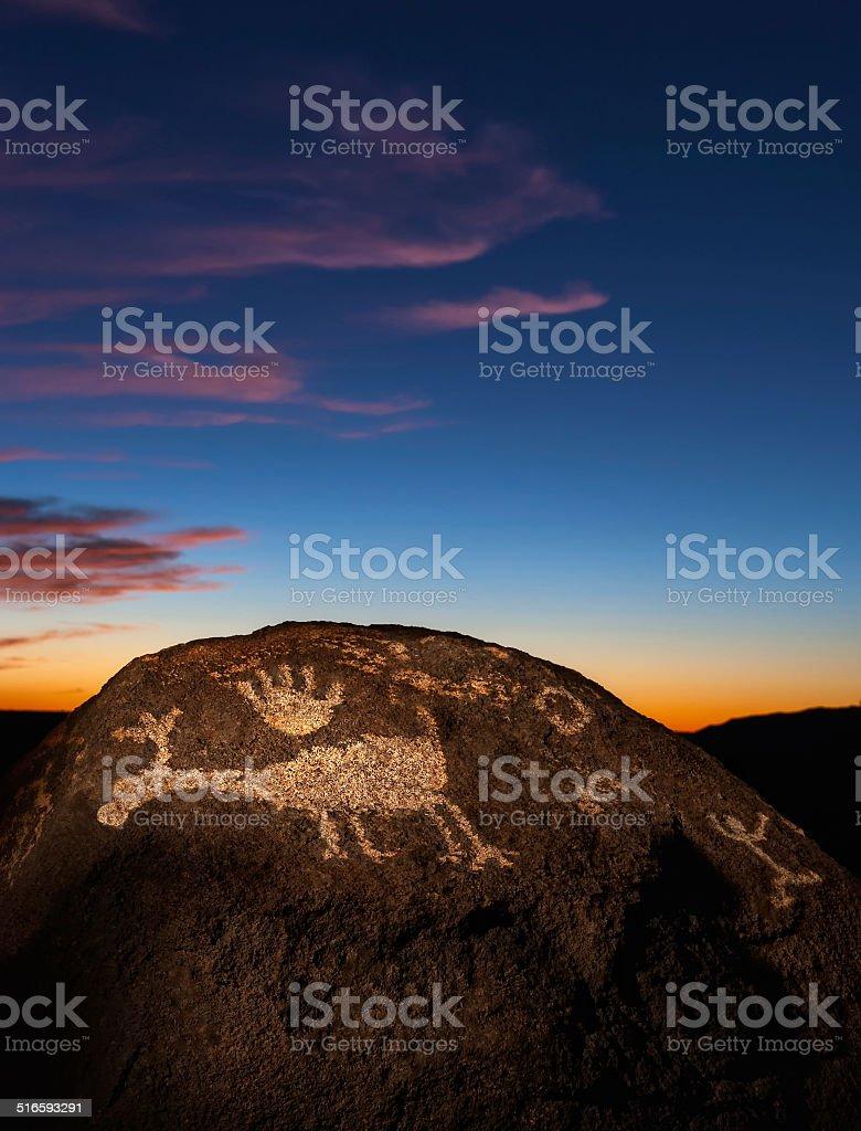Petroglyphs at Sunset stock photo
