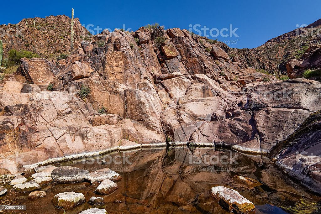 Petroglyphs at the Hieroglyphic Canyon Trail, Gold Canyon, Superstition Mountains stock photo