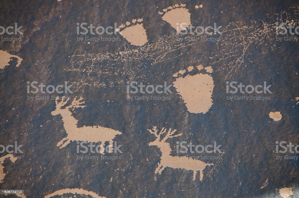 Petroglyphs from Newspaper Rock State Historic Monument stock photo