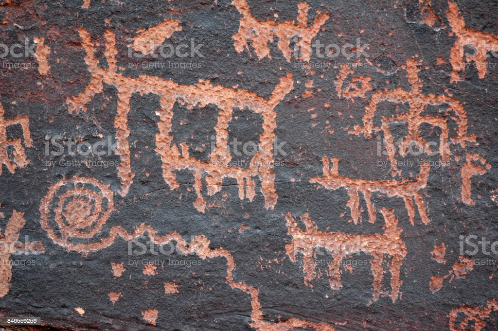 Petroglyphs Hunting stock photo