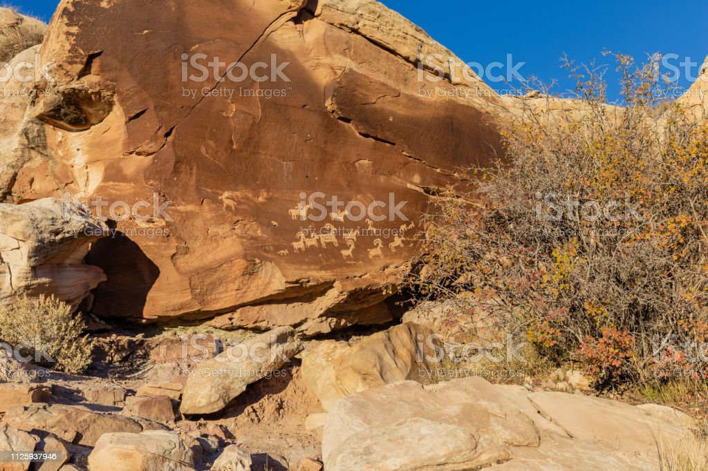 Petroglyphs in Arches National Park stock photo