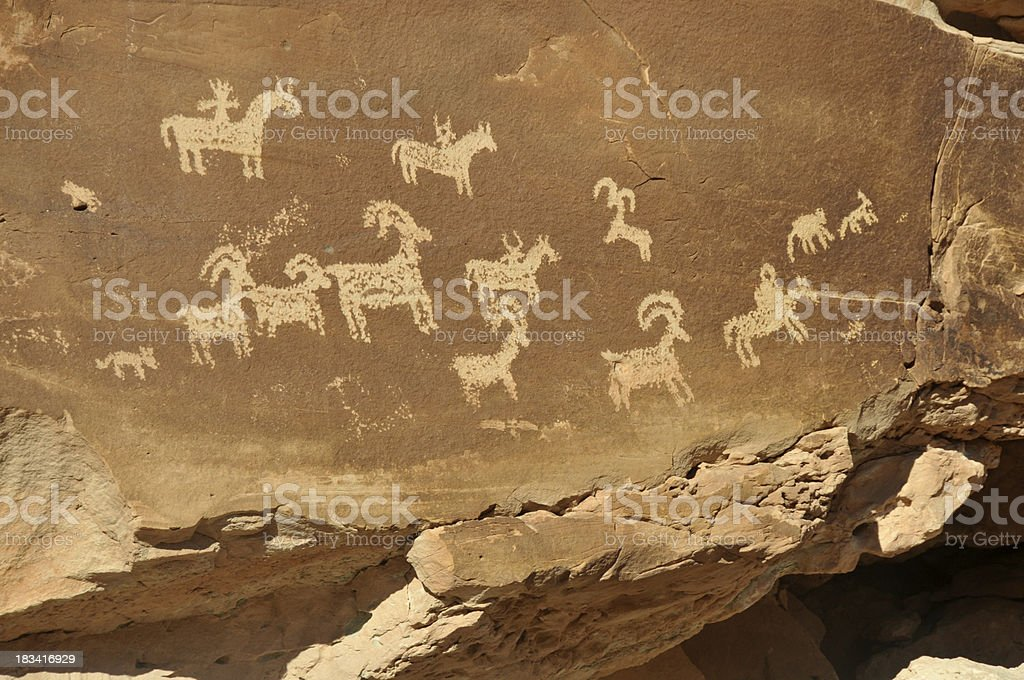Petroglyphs in Arches National Park, Utah stock photo