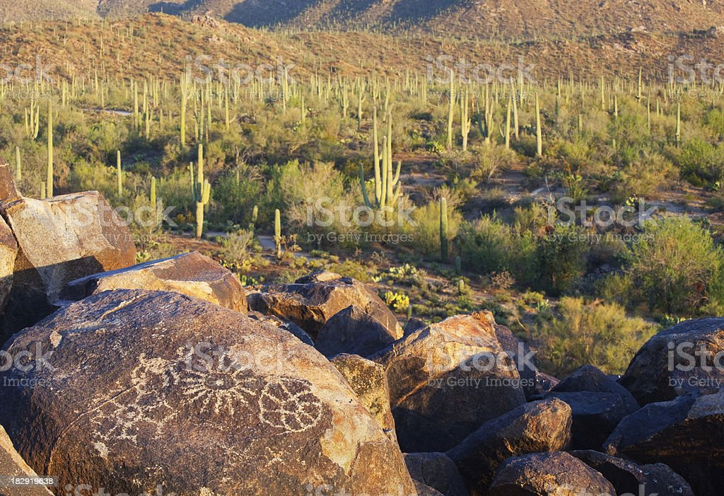 Petroglyphs in Saguaro National Park royalty-free stock photo