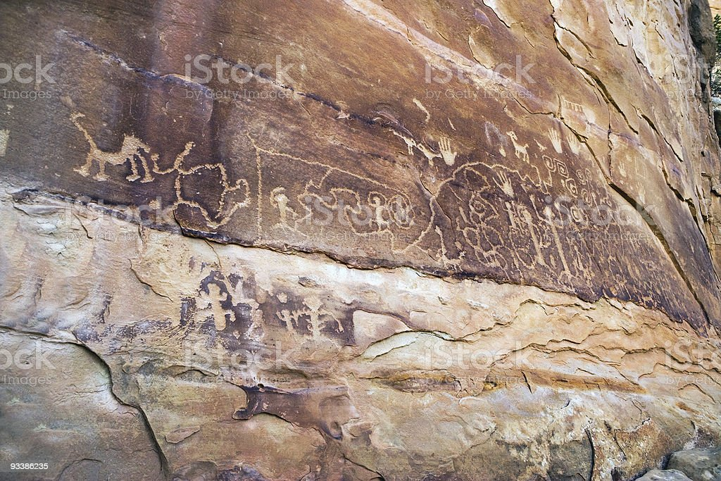 Petroglyphs, Mesa Verde, Arizona stock photo